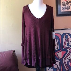 NEW Free People wine colored thermal top